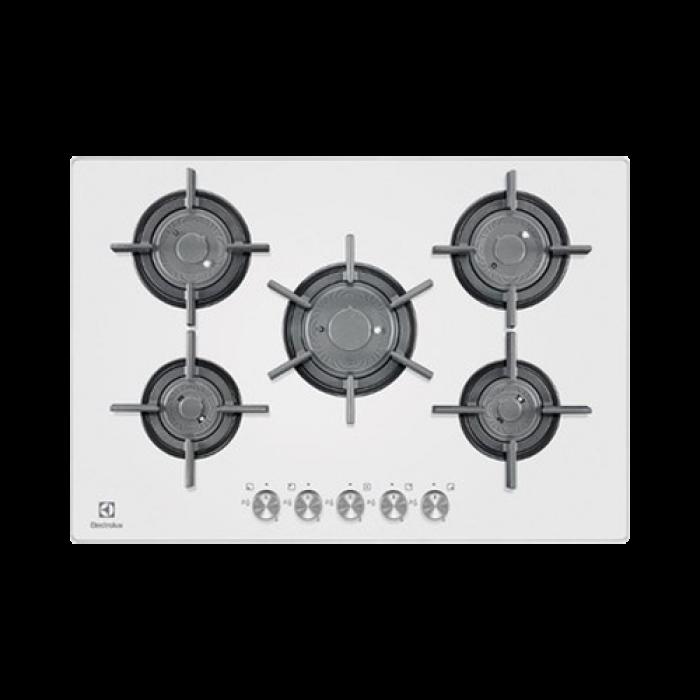 Electrolux piano cottura a gas 5 fuochi in cristallo for Misure piano cottura 4 fuochi